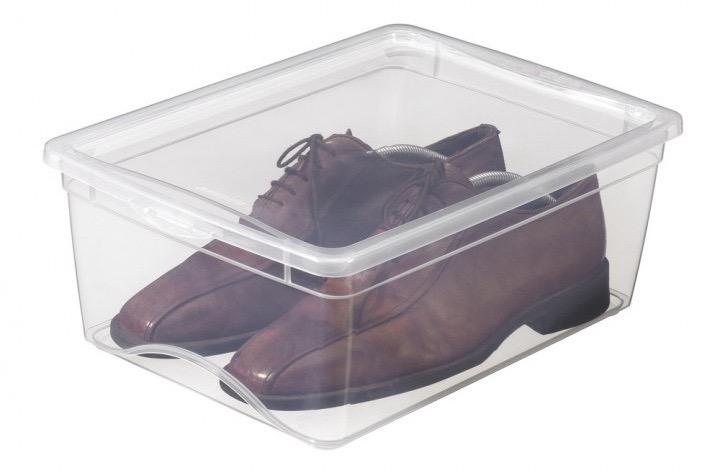 Durchsichtige Aufbewahrungsbox für Schuhe.