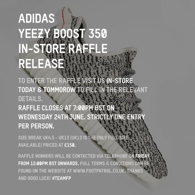 Die Ankündigung eines In Store Raffles von Foot Patrol für den Yeezy Boost 350. (Quelle: Foot Patrol)